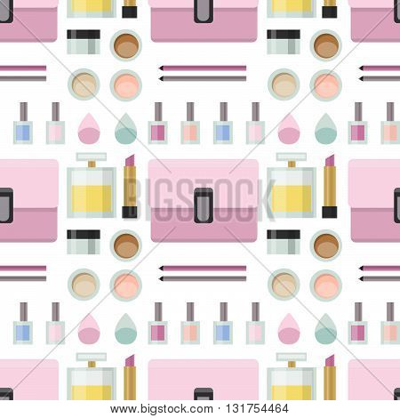 Flat lay woman's fashion seamless pattern, collection of cosmetics. Beauty blogger. Cosmetics in flat style. Pomade.