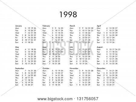Calendar Of Year 1998