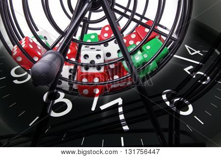 Close Up of Bingo Game Cage and Clock