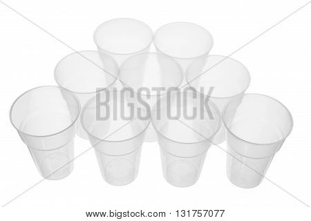 Empty Clear Plastic Cups on White Background