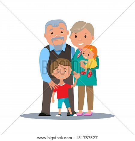 Grandparents family with grandchildren isolated. Cartoon couple grandparents with children. Vector illustration