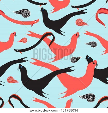 Seamless graphic pattern with sea lions and fish on a light blue background