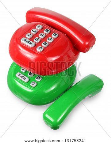 Plastic Toy Phones on Isolated White Background