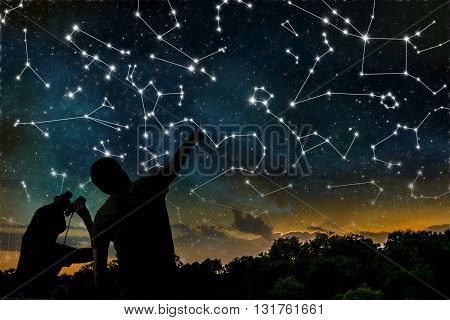 Astrology Concept. Constellations On Night Sky. Silhouettes Of A