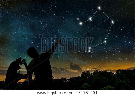 Libra Constellation Of Zodiac On Night Sky. Astrology Concept. S
