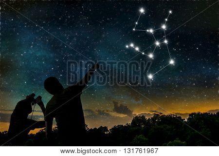 Hercules Constellation On Night Sky. Astrology Concept. Silhouet