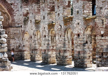 Nesebar Bulgaria - 13 July 2015: The Church of Saint Sofia is an Eastern Orthodox church. The basilica was constructed in the late 5th and early 6th century. The basilica was abandoned in the 18th century.
