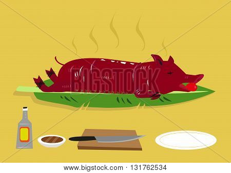 Lechon or a Roasted Suckling Pig is popular festival food in  the Philippines and other former colonies of Spain such as Puerto Rico and Dominican Republic. Editable Clip Art.