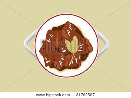 Popular Adobo dish of the Philippines cooked using mainly with vinegar and soy sauce. Editable Clip Art.