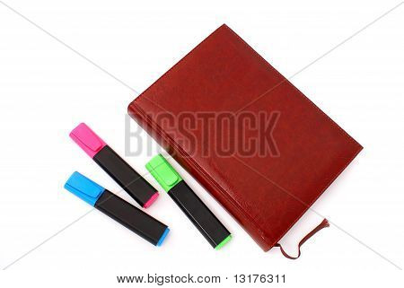 Daily Notebook With Three Text Markers