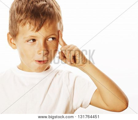 litlle cute blond boy tired sad isolated on white background close up thinking, looking like having idea