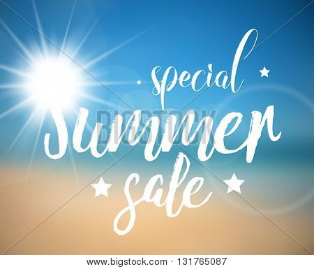 Vector abstract special summer sale poster with beach background