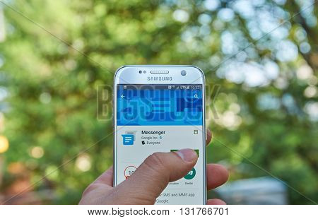 MONTREAL CANADA - MAY 23 2016 : Google Messenger application on Samsung S7 screen. Messenger from Google is a communications app that helps users send and receive SMS and MMS messages to any phone.