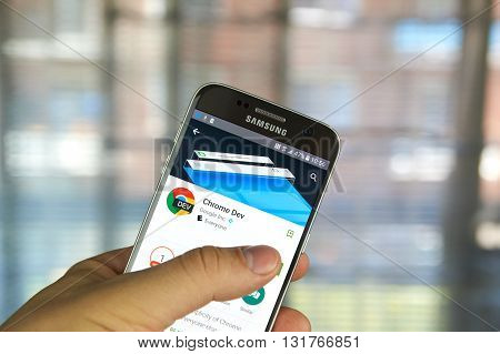 MONTREAL CANADA - MAY 23 2016 : Google Chrome dev application on Samsung S7 screen. Google Chrome is a freeware web browser developed by Google.