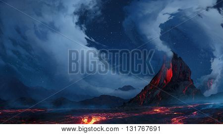 3D illustration, volcanic eruptions, blue night, clouds