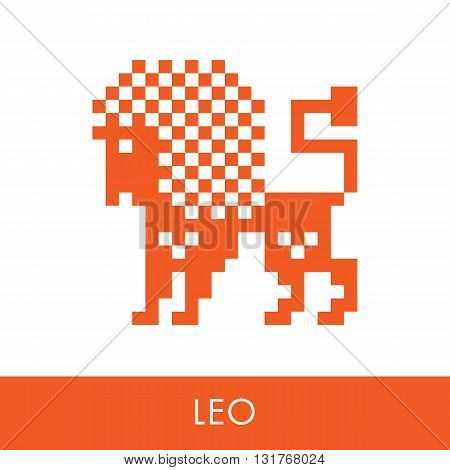 Leo zodiac sign. Symbol icons flat illustration. Pixel graphics.