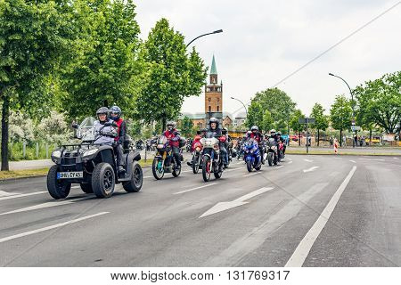 Berlin, Germany - May 28, 2016: Motorcycle parade in Berlin against violance. Motocycle demonstration on Potsdamer platz in Berlin