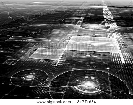 Abstract technology background - computer-generated black and white image. Glass or metal surface with lines, circles and grid. Dimensional point background for desktop wallpaper, covers, web-design.