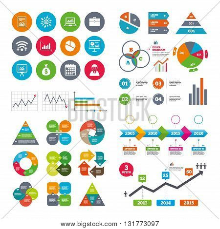 Wifi, calendar and web icons. Statistics, accounting icons. Charts, presentation and pie chart signs. Analysis, report and business case symbols. Diagram charts design.