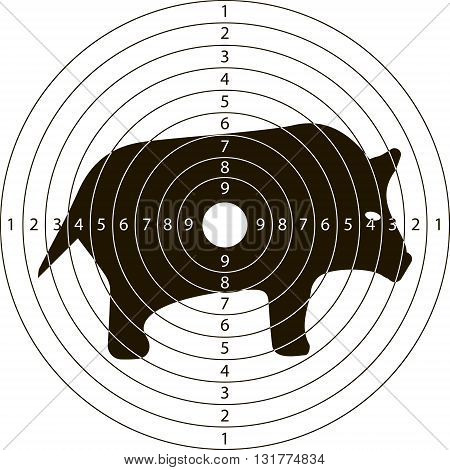 shooting target wild boar for the shooting range small arms made in the vector