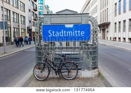 Berlin Germany - May 15 2016: metro station Stadtmitte on Friedrichstrasse with unidentified people in Berlin. The metro in Berlin opened 1902 and has today 173 stations and a length of 146 km