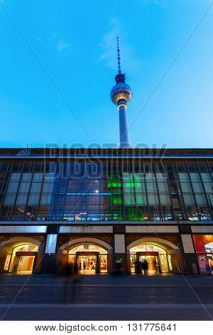 Berlin Germany - May 16 2016: TV Tower in Berlin at night. It was constructed in the 60ies by the administration of the GDR with 368 m it is the tallest structure of Germany and 2nd of the EU