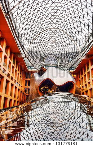 Berlin Germany - May 17 2016: atrium of the DZ Bank building in Berlin. Its an office conference and residential building designed by architect Frank Gehry completed in 2000.