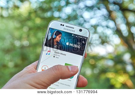 MONTREAL CANADA - MAY 23 2016 : Apple Music android application on Samsung S7 screen. Apple Music is a music streaming service developed by Apple Inc.