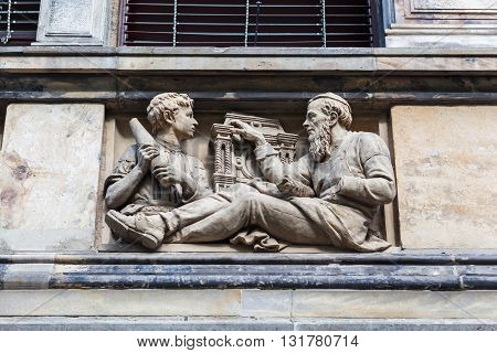 relief detail at the facade of the historical Martin Gropius Bau in Berlin Germany