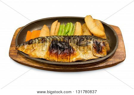 Grilled Saba Soy Sauce On White Background