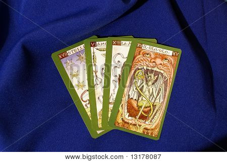 Tarot Cards On Blue Textile