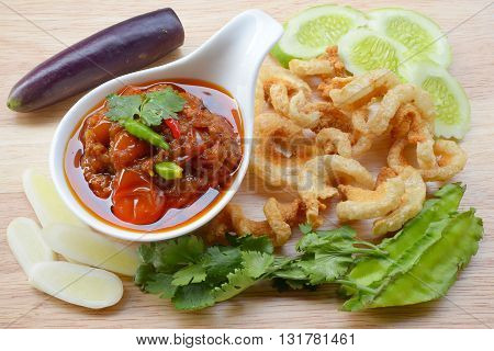 Nam prick ong, Thai northern style chili paste (meat and tomato spicy dip).