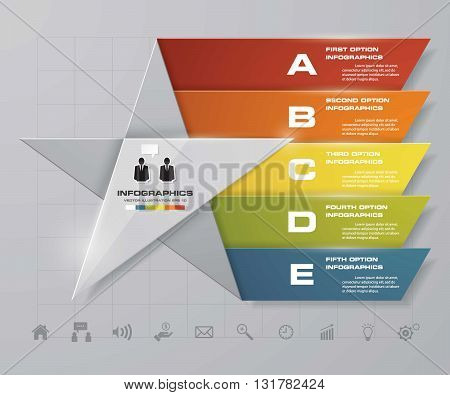 5 steps presentation template/5 options/ star shape graphic or website layout. Vector.