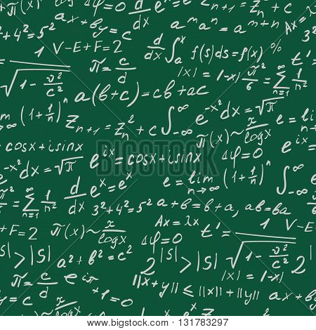 Seamless background on the topic of mathematical theorems symbols and formulas light contour on a green background