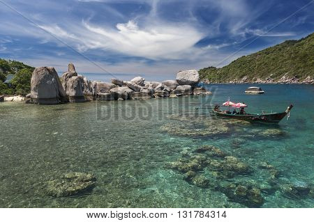 Crystal clear water on the island of Koh Tao in Thailand.