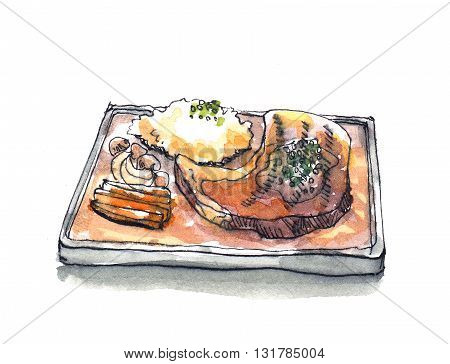 Steak Sizzle In Hot Pan Plate Watercolor Illustration