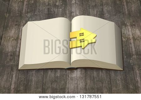 Opening Book With Gold House On Wooden Table, Knowledge Brings Wealth