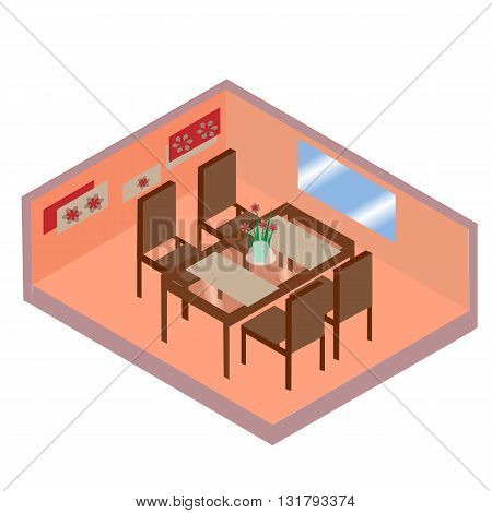 Table with chairs for cafes. Table with chairs Modern. Table with chairs on white background. Table with chairs Flat. Table with chairs isometric. Table with chairs vector