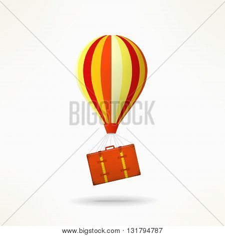 Travel case with balloon. Mooving and travelling design element. Shifting idea.