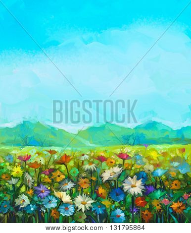 Oil painting white red yellow daisy- gerbera flowers wildflower in fields. Meadow landscape with wild flowers hill and blue sky background. Hand Paint summer floral Impressionist style