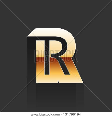 Vector Gold Letter R Shape Logo Element. R Letter. R Letter Shape on Dark Grey Background