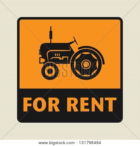 Tractor For Rent icon or sign vector illustration