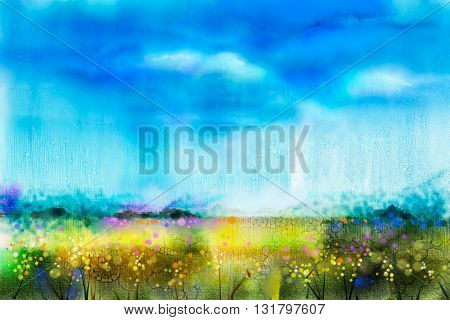 Watercolor painting landscape wildflower and blue sky. Abstract wild flower paint in the meadows. Hand painted Yellow and Red flowers in field. Spring flower seasonal nature background