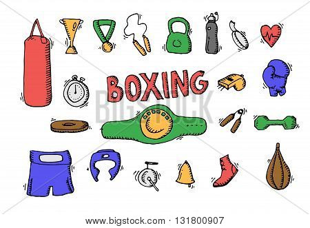 Boxing Icons Set
