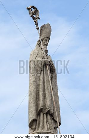 Statue in the courtyard of the old catholic church of the Basilica del Santo Nino. Cebu Philippines.