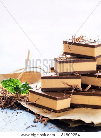 Photos of belgium pralines on rustic background
