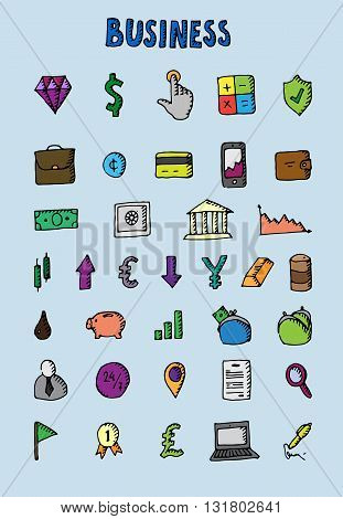 Business icons set. Big hand drawn collecton. Vector stock illustration