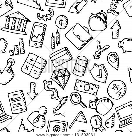 Business icons set. Hand drawn seamless background pattern. Vector stock illustration