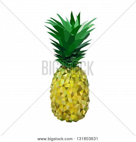 low polygon yelllow pineapple made of triangles