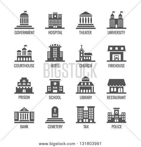 Government, public building vector icons set. Building icon set public and architecture building government city illustration